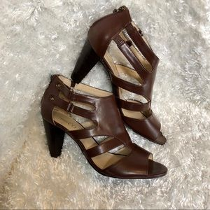 Brown, Zipper Back Strappy Sandal Heels Size 10